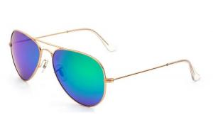 Ochelari de soare Aviator Verde cu Gold