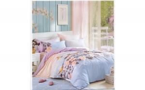 Lenjerie pentru pat dublu Ranforce, tip finet  - model Vof flori pe bleu, XXL