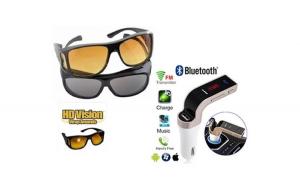 Set 2 ochelari de condus zi si noapte + Modulator FM, auto, MP3 Bluetooth