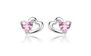 Cercei din argint 925 Double Heart to Heart Pink