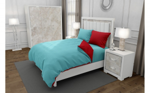Lenjerie de pat pentru o persoana cu husa elastic pat si 2 fete perna dreptunghiulara cu mix culoare, Duo Turquoise, bumbac satinat, gramaj tesatura 120 g mp, Turcoaz Rosu, 4 piese