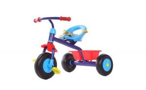 Tricicleta pentru copii, cadru metalic, centura de siguranta, pedale anti-alunecare, cos pentru depozitare, albastru