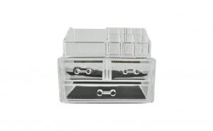 Organizator cosmetic transparent, cu 9 compartimente si 3 sertare
