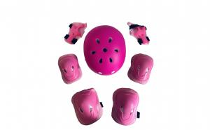 Set de protectie pentru copii, genunchiere, cotiere, aparatori maini si casca reglabila, roz