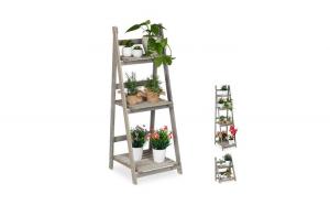 Suport plante cu 3 etajere L Lemn Gri