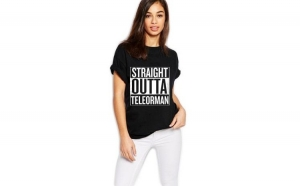 Tricou dama negru - Straight Outta Teleorman