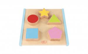 Puzzle 3D Montessori cu forme geometrice din lemn cu 10 piese, WD2070