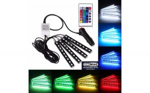 Banda Led RGB lumina ambientala auto multiple culori cu telecomanda 9 Led-uri/banda