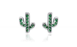 Cercei din argint 925 Green Cactus Crystal