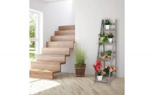 Suport plante cu 4 etajere XL Lemn Gri