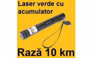 Laser puternic verde 3D cu acumulator, raza de actiune de 10 km, proiectii si zoom