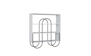 Consola living Quasar & Co., 96 x 25,5 x 99 cm, lemn/metal, alb