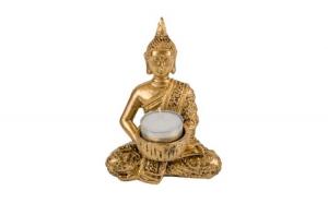 Tealight baza din lemn de aur Buddha