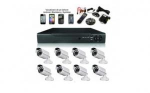 Sistem supraveghere CCTV kit DVR 8 camere exterior, pachet complet