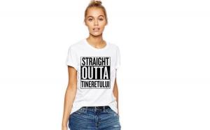Tricou dama alb -  Straight Outta Tineretului