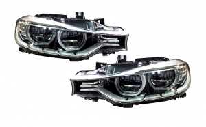 Set 2 faruri Full LED Angel Eyes compatibil cu BMW Seria 3 F30 (2011-up)