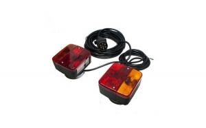 Set stopuri pentru remorca sau camion 12/24V cu Priza si Cablu 7.5m, Montare cu Magnet, Negru