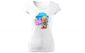 Tricou de dama ALB Flamingo summer COD