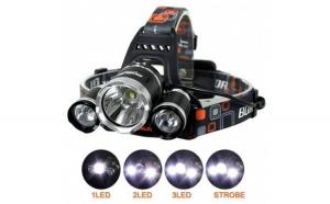 Lanterna frontala cu LED si acumulator, Zoom Cree 5W x 3, 1800 mAh, material ABS + Metal, raza actiune 400 m
