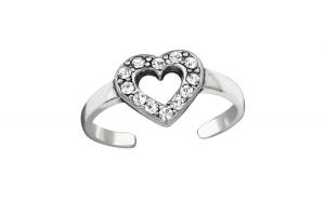 Inel de picior din Argint, Inima cu cristal, Silver, A4S38441