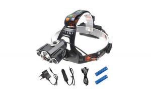 Lanterna puternica pentru cap cu 3 leduri CREE, neagra, banda elastica cap