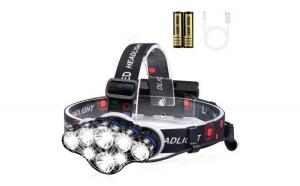 Lanterna de cap Premium cu 8 LED-uri cu Cap Impermeabil ,13000 Lm Lumina Alb/Rosie Ideala Camping Ciclism Pescuit Alergat Black Friday Romania 2017