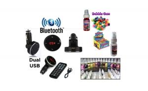 Car kit auto bluetooth, dual USB - functie modulator FM + cadou o esenta parfum auto 100% concentrate, 50 ml, la alegere! - numai 69 RON redus de la 159 RON