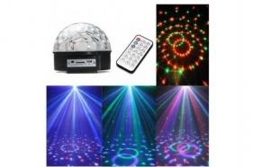 Glob Disco cu MP3 Player, boxe incorporate, cititor de stick USB si card si Jocuri de Lumini in ritmul Muzicii - Crystal LED Magic Ball + Stick CADOU