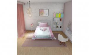 Lenjerie pat Lucy, 3 piese, pentru 1 persoana, culoare alb/roz, bumbac 100% (1 husa pilota 155 x 200, 1 fete de perna 50 x 70, 1 fata de perne decorative 50 x 40)