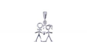 Pandantiv Argint 925, Cuplu Contur si Inima