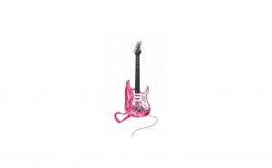Chitara electrica cu microfon pentru copii, roz