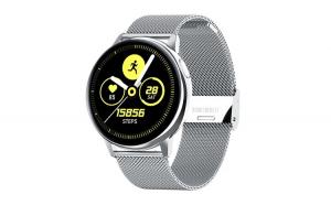 """Ceas Smartwatch TND Wear S30, Termometru, Rezistent la apa, Heart Rate, ECG, Oxygen Control, Pedometru, ecran 1.28"""" TFT, baterie 7 zile, 230mAH, Bratara extra silicon, silver"""