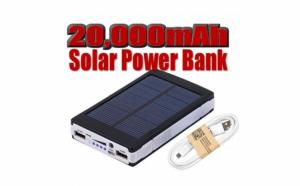 Baterie externa Solar Power Bank - 20000mAh - incarcare solara + lanterna 20 Led C187