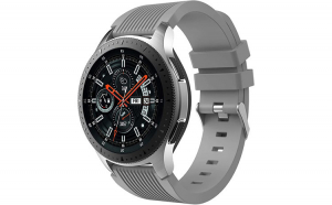 Curea Universala Silicon Premium MTP Grey 22mm, Striatii Verticale, Quick Release