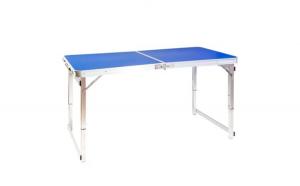 Masa pliabila, Quasar & Co, gradina/camping/balcon, reglabila pe inaltime 120 x 60 x 55 / 63 / 70 cm, albastru
