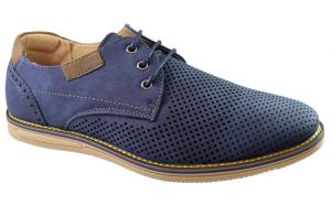 Pantofi barbati bleumarin perforati cu
