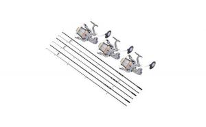 Set 3 Lansete, Baracuda, Competition crap, lungime 3.90 m, echipate cu 3 Mulinete, Baracuda, Reward 8000