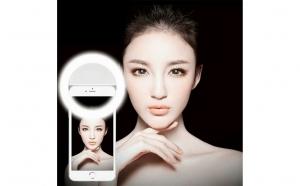 Lampa LED selfie pentru telefon, tip inel, cu 3 trepte luminozitate