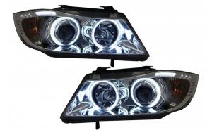 Set 2 faruri compatibil cu BMW Seria 3 E90 E91 (2005-2008) Pozitie Angel Eyes CCFL Crom