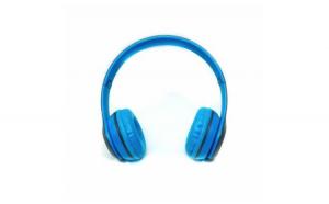 Casti audio P47, bluetooth, albastru-gri
