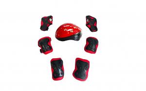 Set de protectie pentru copii, genunchiere, cotiere, aparatori maini si casca reglabile, rosu