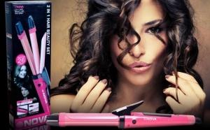 Hair Beauty Set 2 in 1 Placa + Ondulator de par nano ceramica