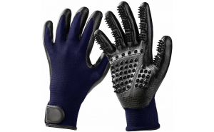 Manusi perie pentru curatarea parului de caini, pisici sau alte animale de companie, Aexya, negru cu albastru