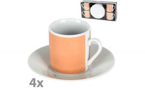Set servire cafea espresso, 4 cesti + 4 farfurii, serviciu cafea 8 piese, 4 x 100 ml, ceramica, alb-crem