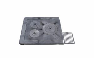 Plita din Fonta pentru Sobe cu Rama 610x530 mm si 3 ochiuri + Gratar Cadou