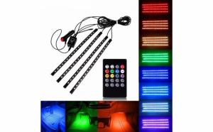 Set 4 benzi auto LED cu lumina ambientala auto RGB cu telecomanda