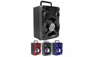 Boxa audio portabila cu acumulator, conectivitate bluetooth si redare radio fm, usb, card