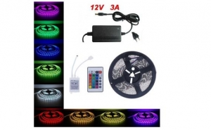 5 Metri x Banda LED RGB Cu Telecomanda si Transformator Tip 5050 Waterproof C116, la doar 90 RON in loc de 185 RON