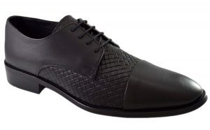 Pantofi Negri Barbati, model Impletit din Piele Naturala