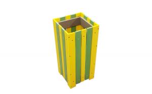 Cos pentru gunoi de exterior capacitate, 35 L, galben-verde
